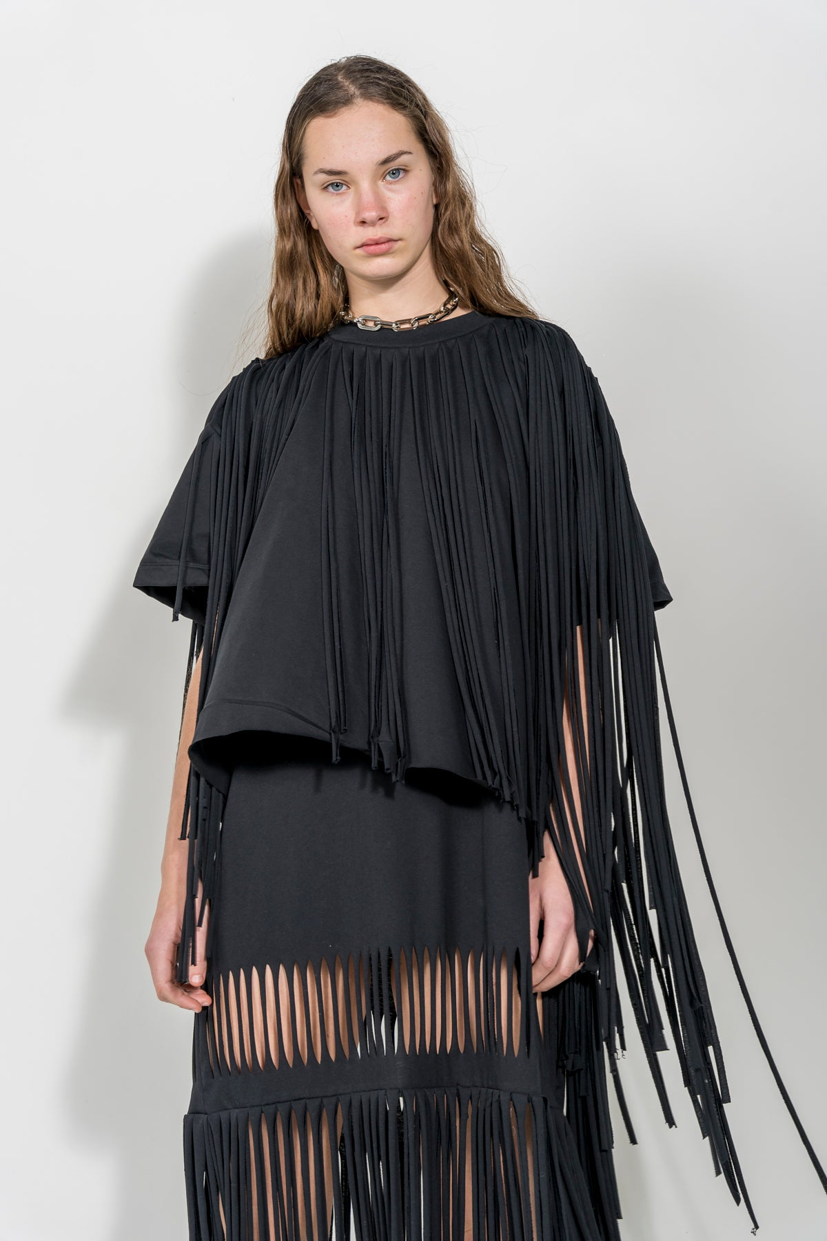 BLACK CAP SLEEVE T-SHIRT WITH FRINGE marques almeida