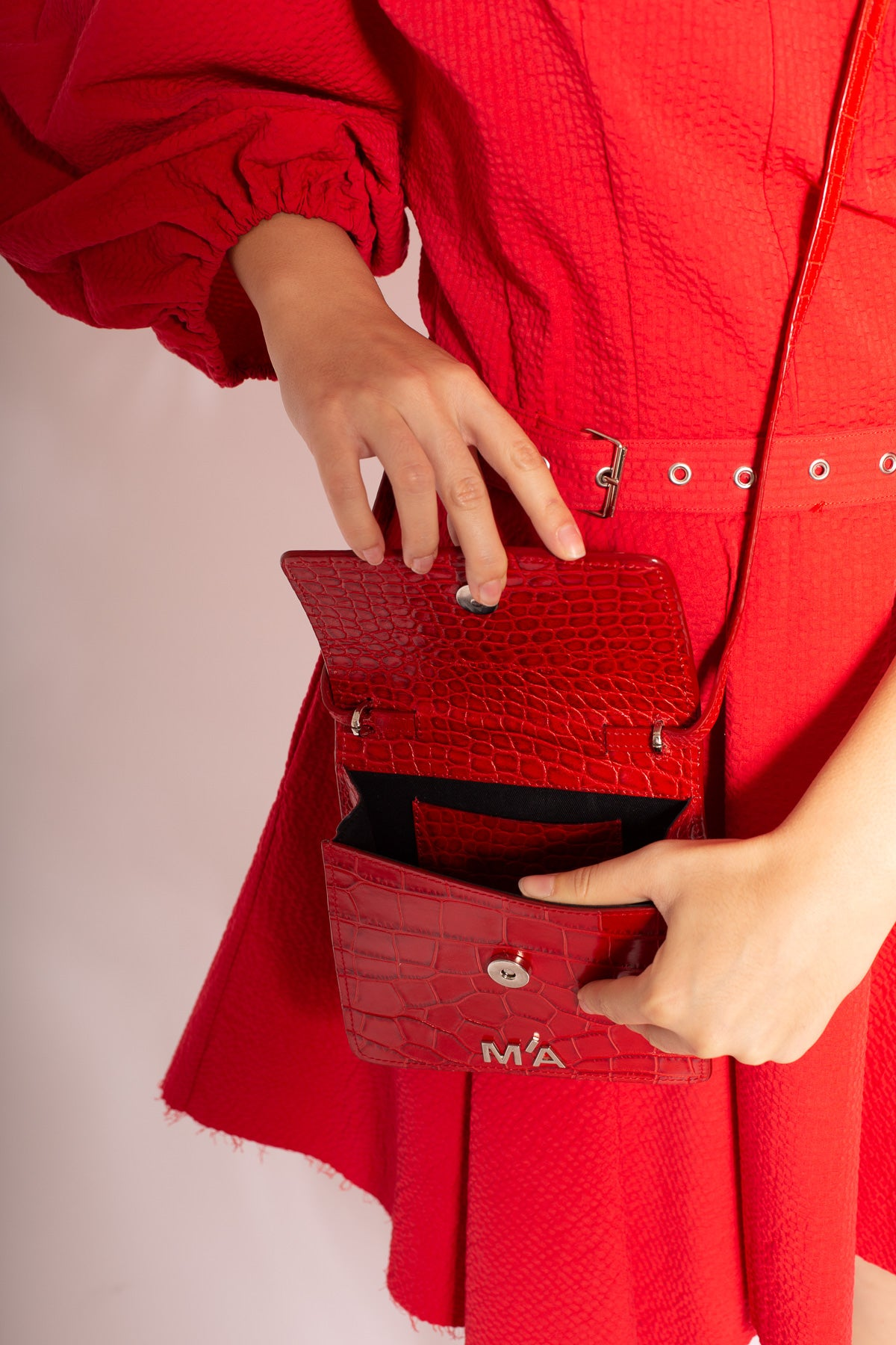 MINI CHAIN BAG IN RED