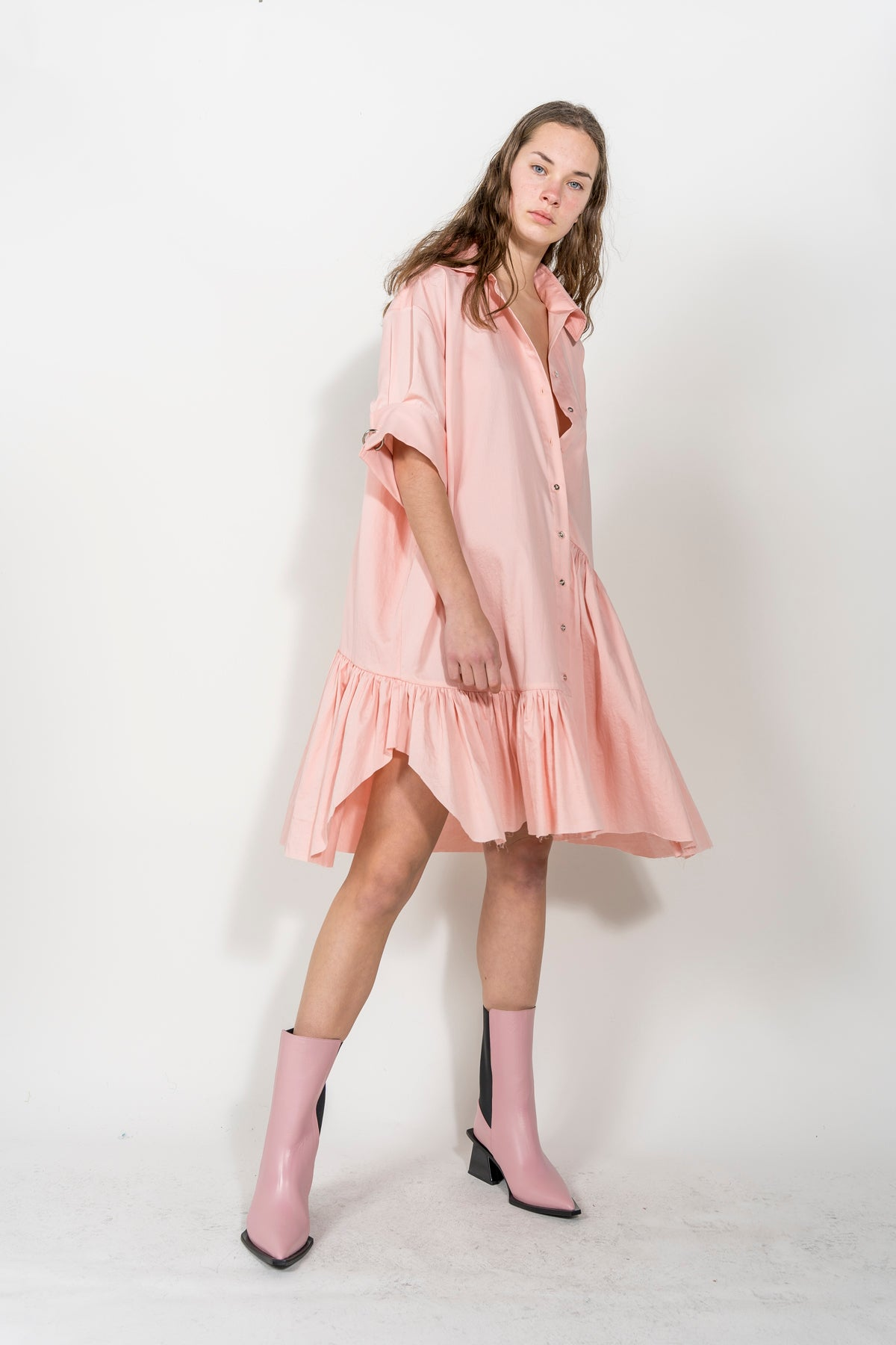 XXL SHORT SLEEVE SHIRT DRESS IN PINK MARQUES ALMEIDA