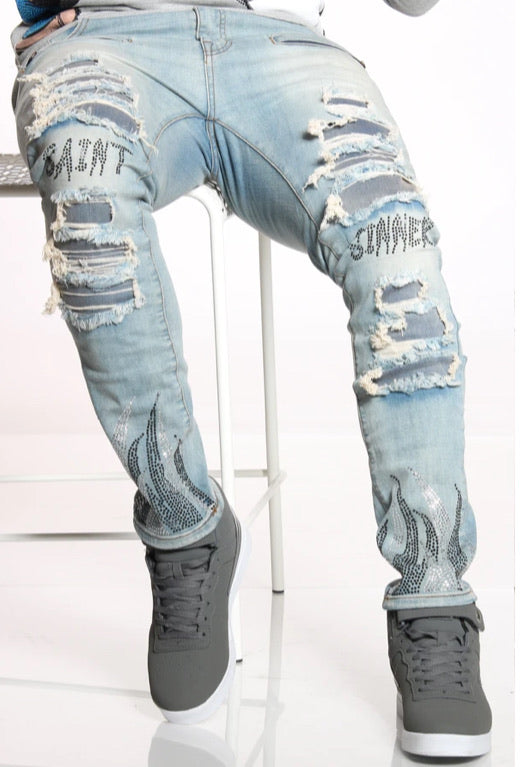 Focus Jeans - Saints & Sinners - Vintage Wash With Black Flames - 3219