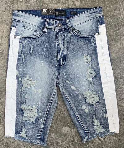 Waimea Shorts - Destroyed w/ Side Stripe - Bleach Splatter - M7195D