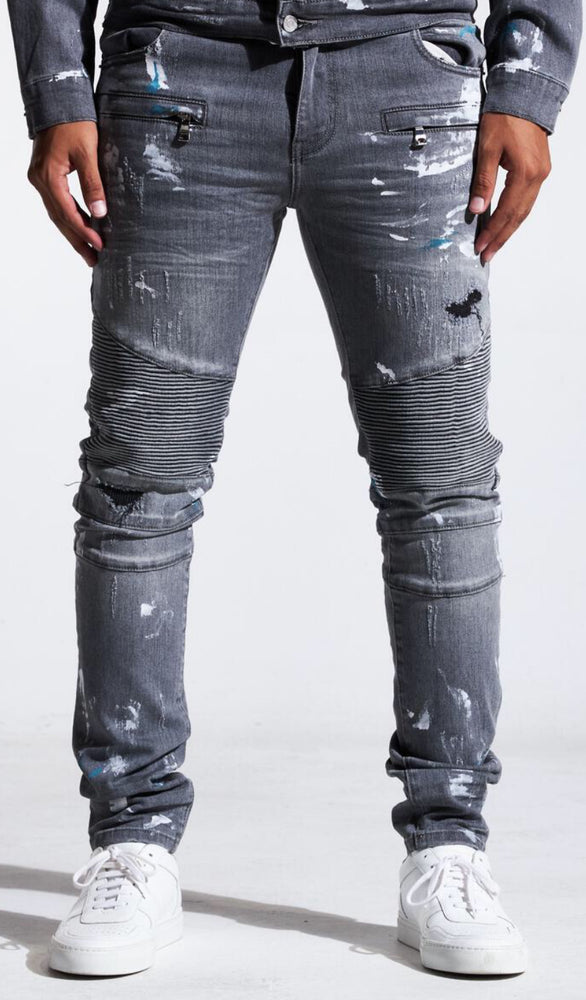 Embellish Jeans - Asher Biker Denim - Grey Paint - EMBSP121-104
