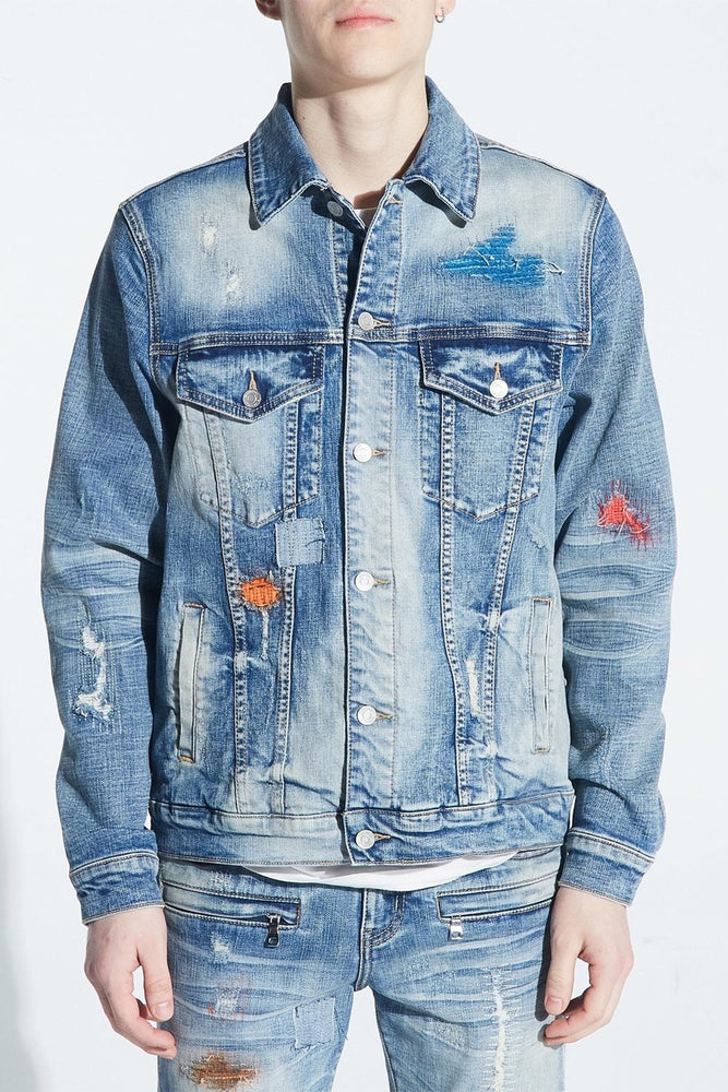 Embellish Jacket - Hamlin Denim - Light Indigo Paint - EMBFALL120-201