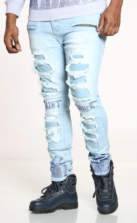 Focus Jeans - Saints & Sinners - Light Wash With Blue Flames - 3219