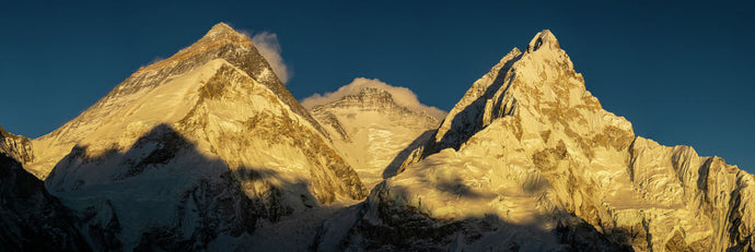 Everest, Lhotse and Nuptse at sunset