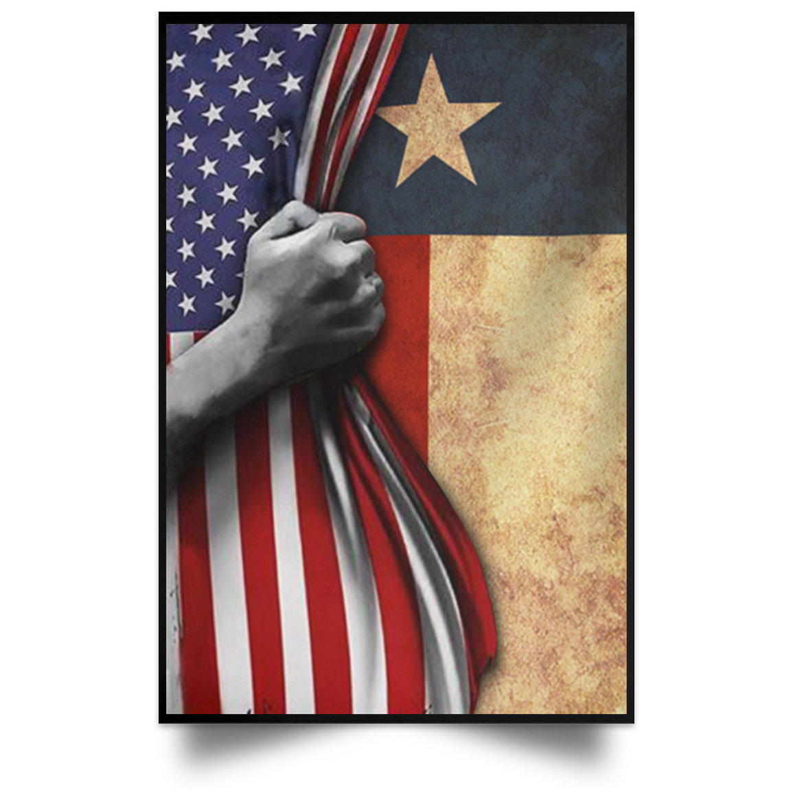 Texas Flag Inside American Flag Vertical Poster 4th Of July Poster Gift For Patriotic