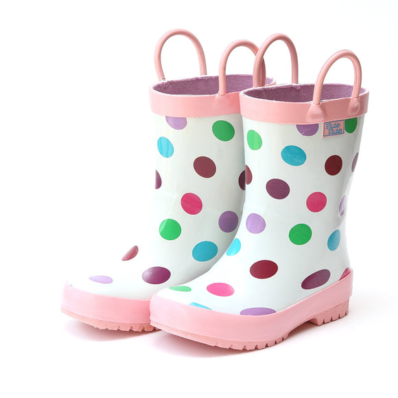 White Polka Dot Rain Boot