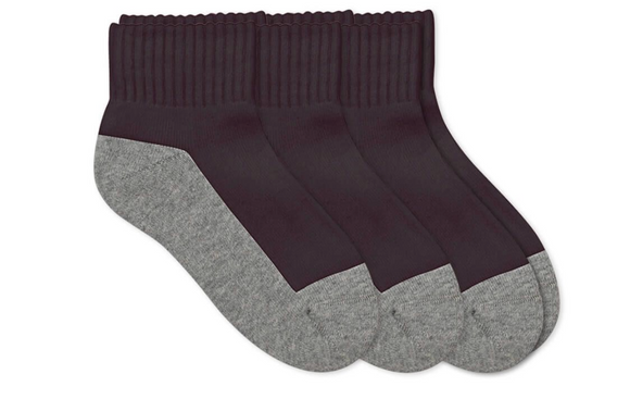 Quarter Socks 3 Pair Pack Black/Gray
