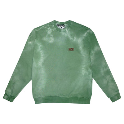 NICE STASH CREWNECK - LEAF GREEN TIE-DYE