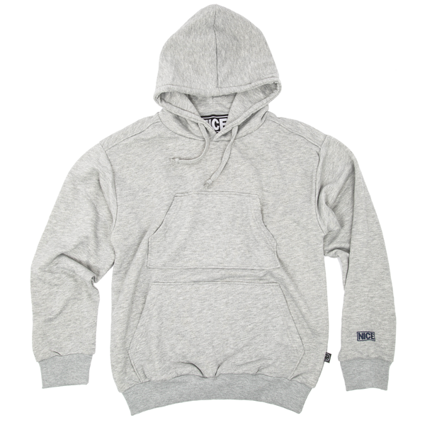 LOGO DOUBLE POCKET HOODIE - GREY MARL - MR NICE