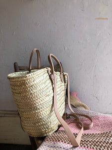 Natural Woven and Leather Buckle Strap Picnic Tote