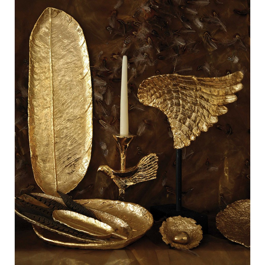 feather long tray md gold