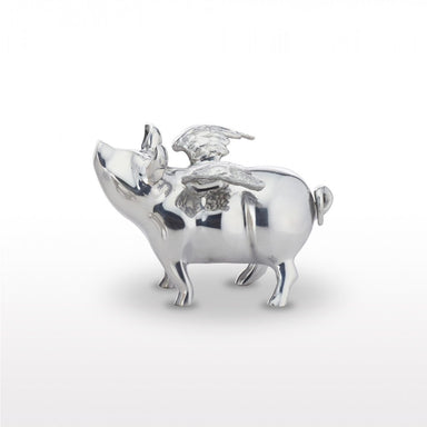 flying pig bank-silver