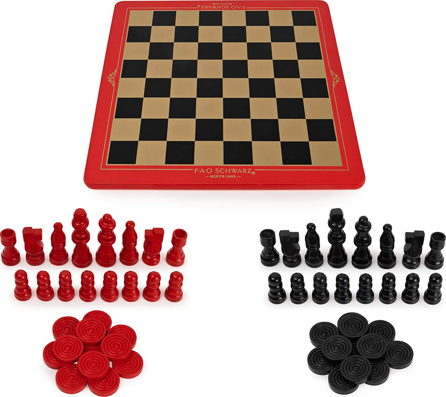 Wooden Chess, Checkers & Tic-Tac-Toe Set