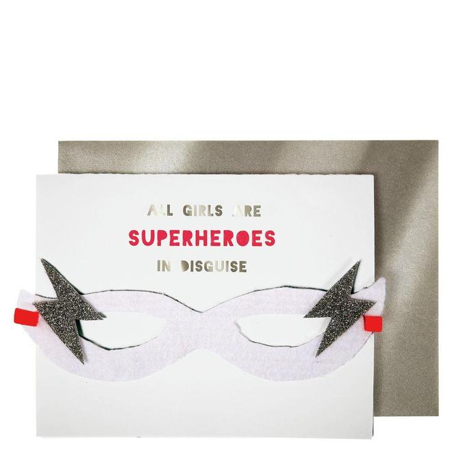 girl superhero birthday card