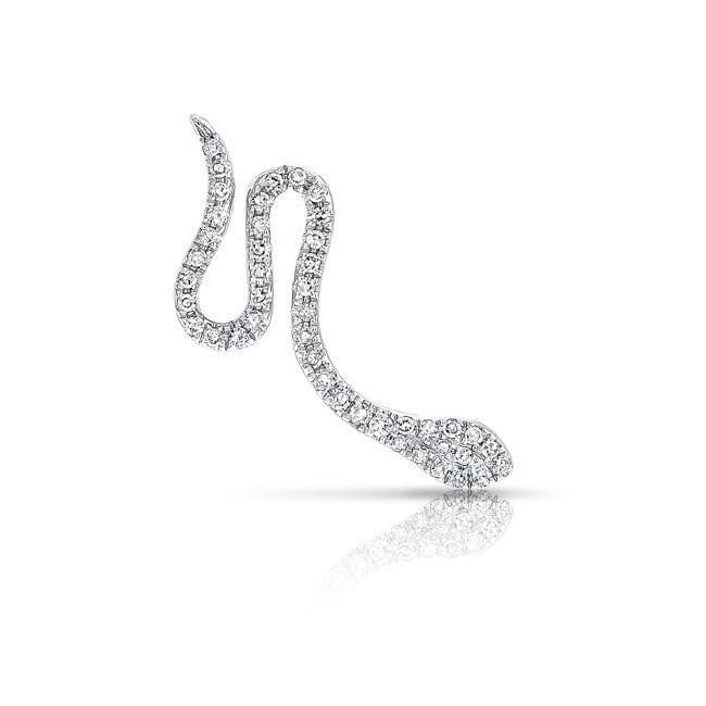 14KT white gold diamond snake ear climber