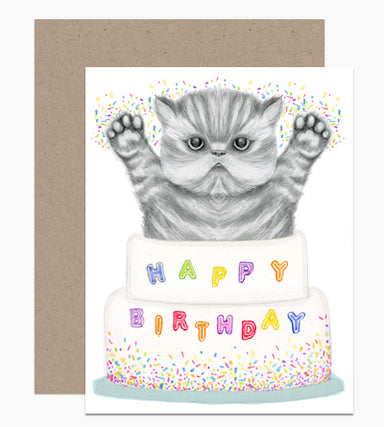 kitten cake birthday card