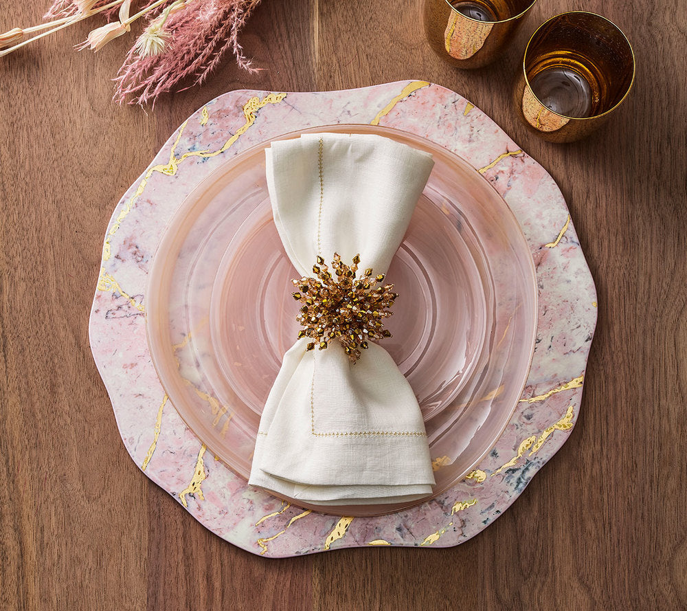 hemstitch napkin white & gold s4