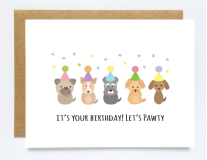 let's pawty birthday card