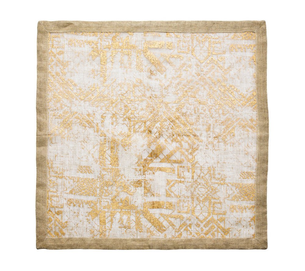 distressed linen napkin natural & gold s4