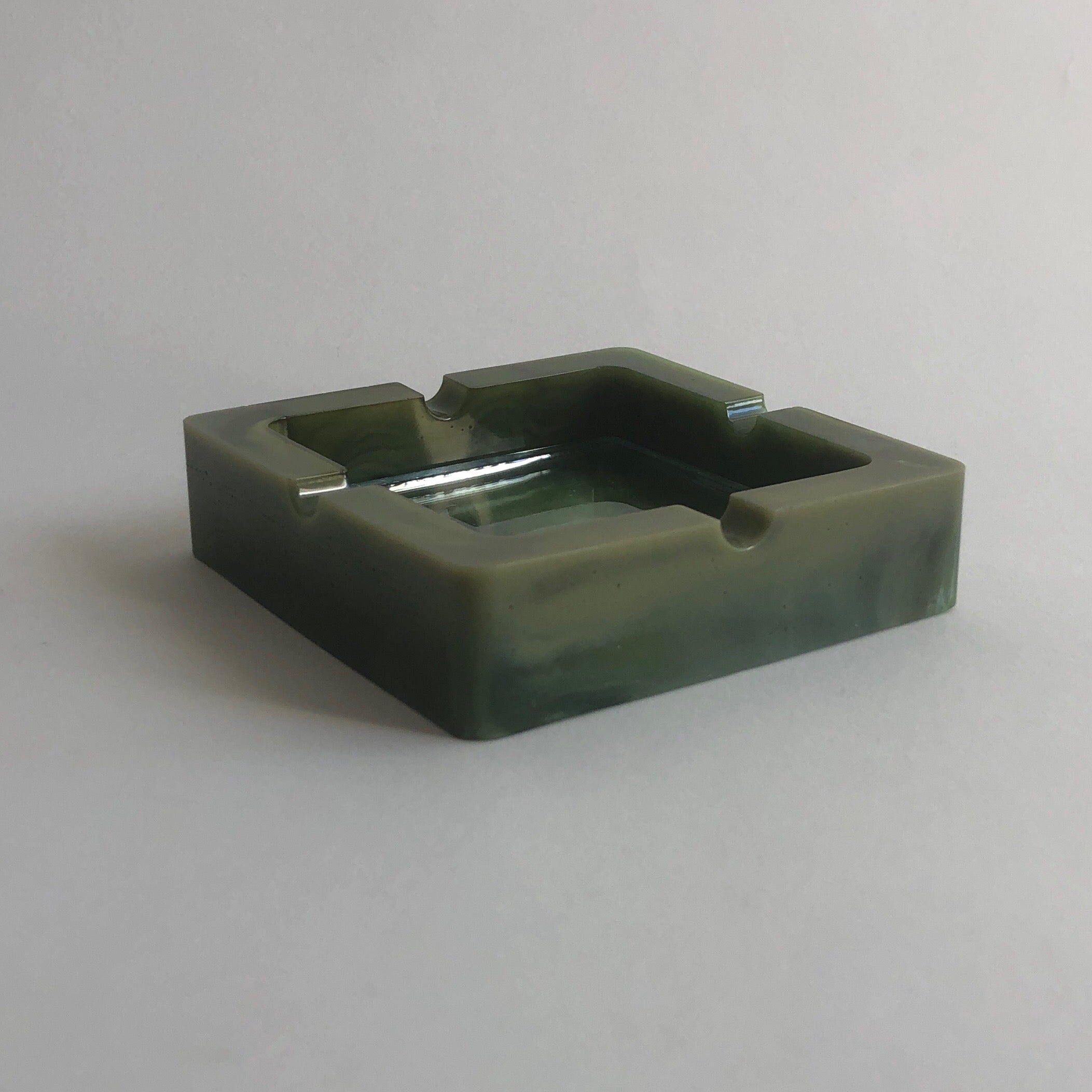 marbled green resin & glass ashtray