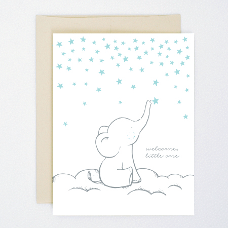 starry elephant baby card