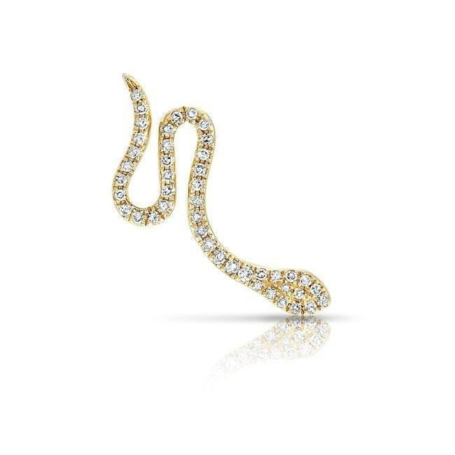 14KT yellow gold diamond snake ear climber