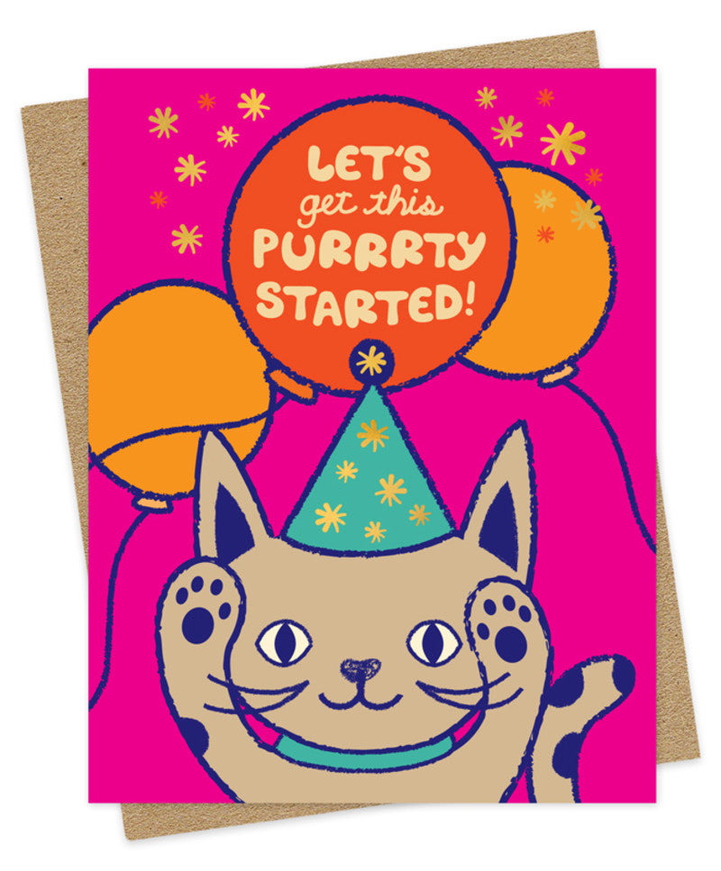purrrty cat birthday card