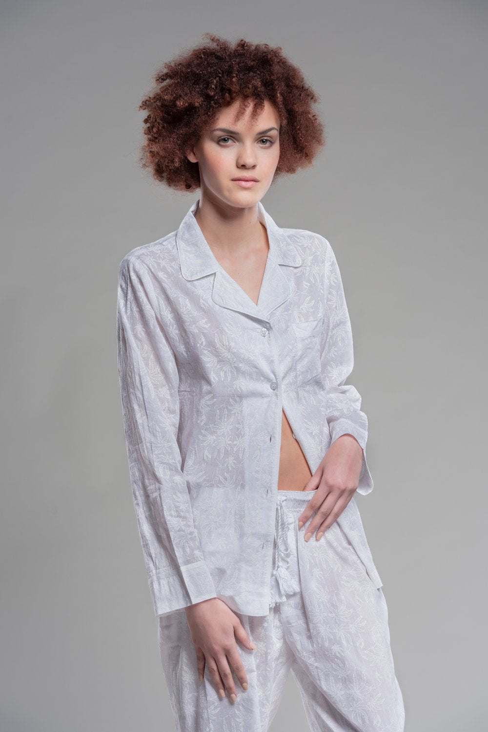 white pot toile PJs ML