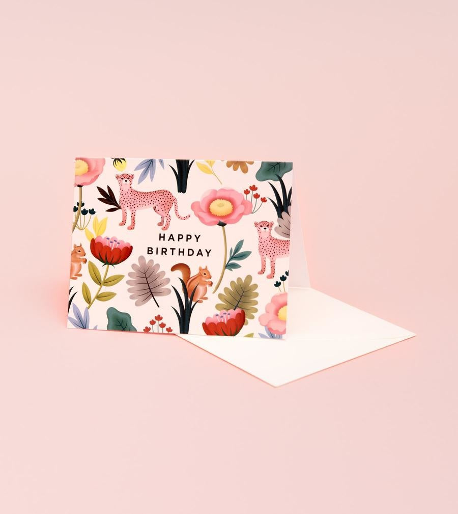 animal kingdom cream birthday card