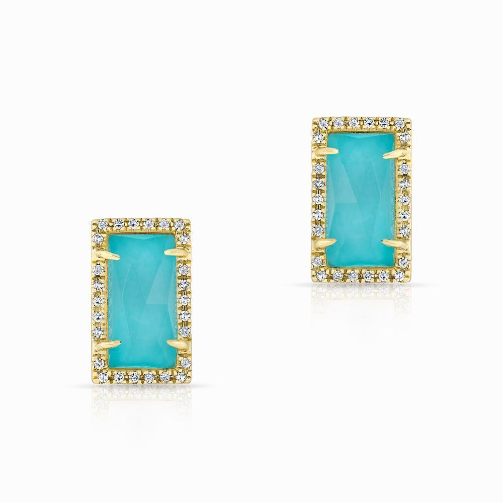 14kt Yellow gold diamond turquoise sara stud earrings