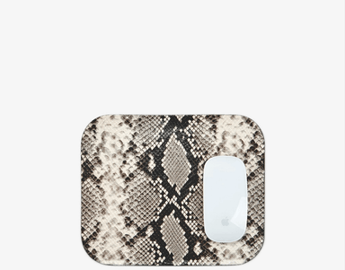 Mousepad in Natural Printed Python Leather