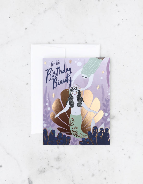 mermaid party birthday card