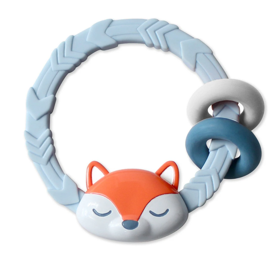 blue fox Silicone Teether Rattle