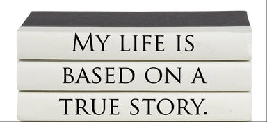 My life is based on a true story book stack