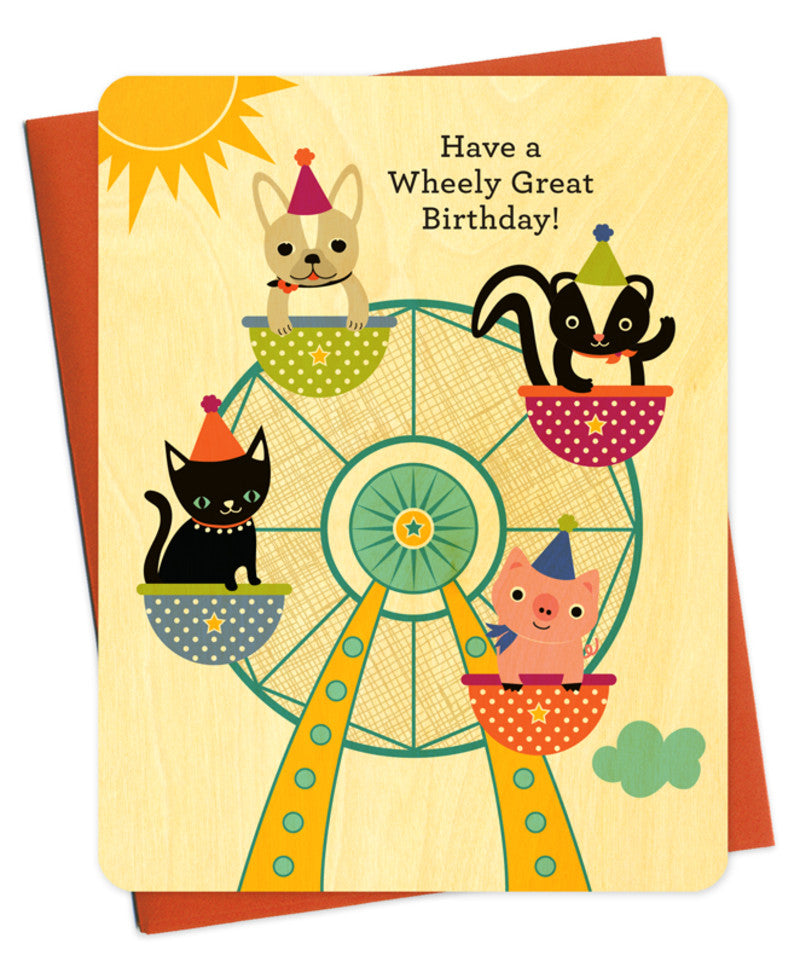 ferris wheel wood birthday card
