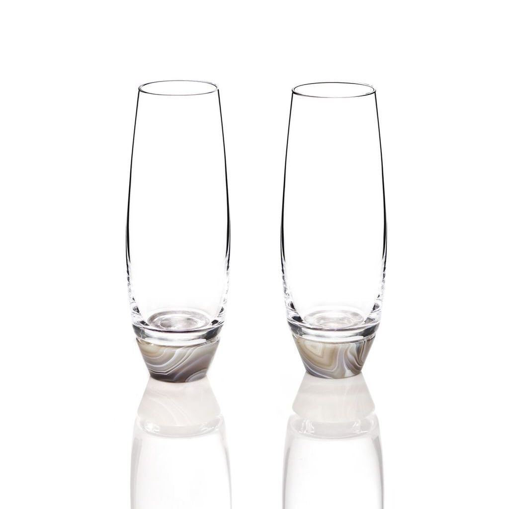 Smoke Agate Champagne Glasses set of 2