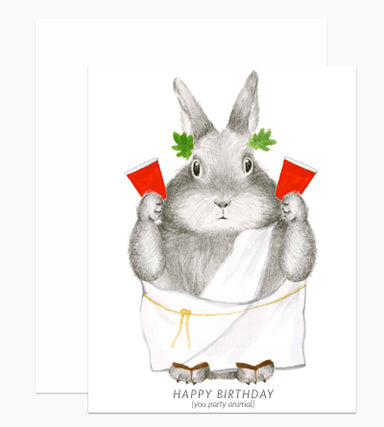 party animal bunny birthday card