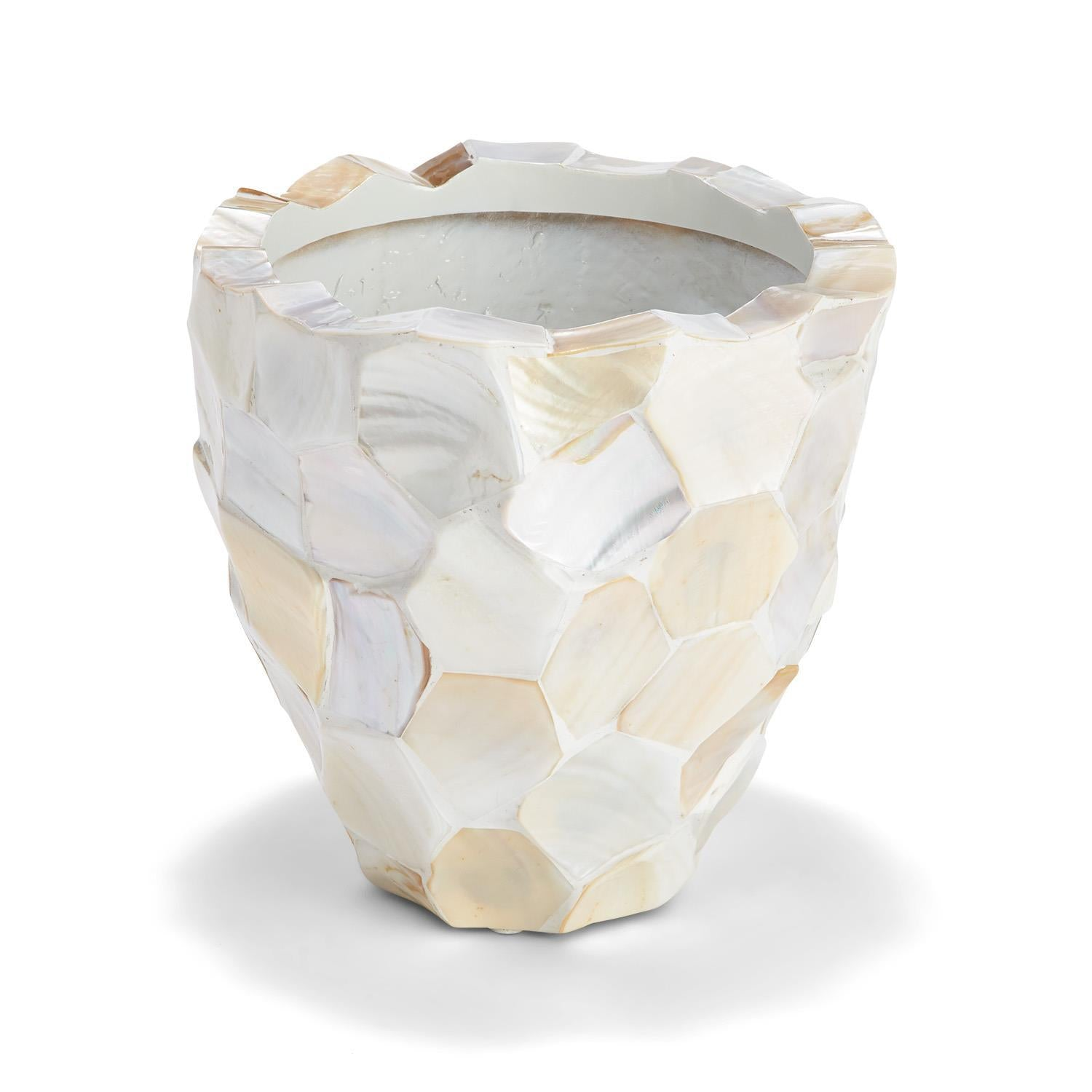 Hexagon Cut White Mother of Pearl Planter