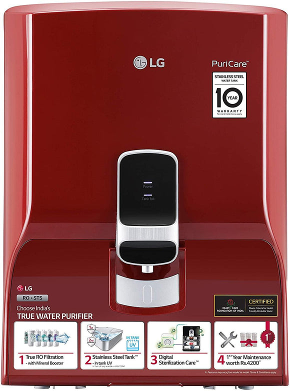 LG Water Purifier WW130NP with True RO Filtration & Dual Protection Stainless Steel Tank (Red, Wall Mount)