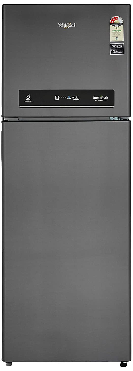 Whirlpool 360 L 3 Star ( 2019 ) Inverter Frost-Free Double-Door Refrigerator (INTELLIFRESH INV CNV 375 ELT 3S, Steel Onyx, Convertible)