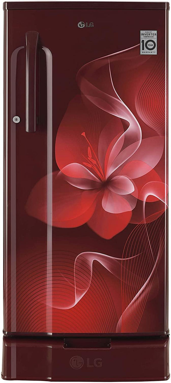 LG 188 L 3 Star Inverter Direct-Cool Single Door Refrigerator (GL-D191KSDX, Scarlet Dazzle)
