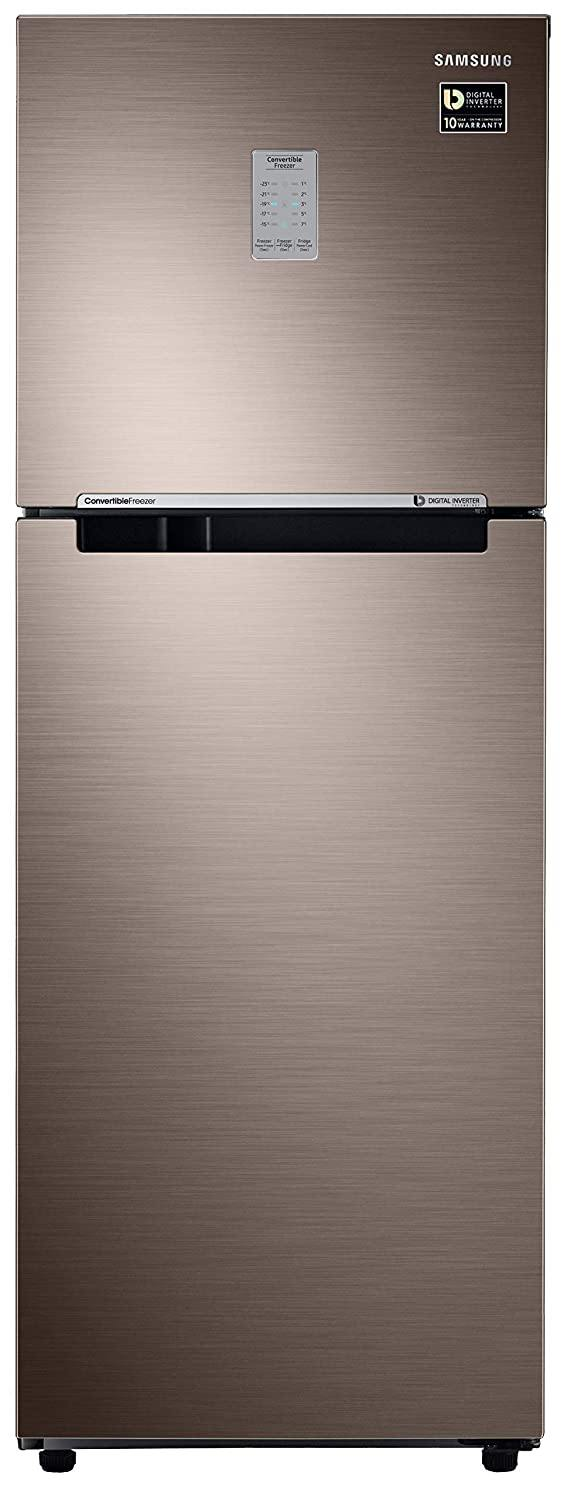 Samsung 253 L 2 Star Inverter Frost-Free Double Door Refrigerator (RT28T3722DX/HL, Luxe Brown, Convertible)
