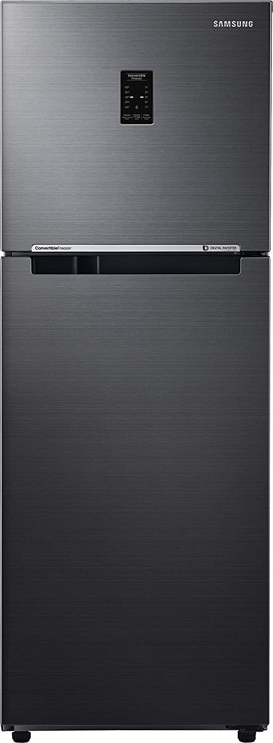 Samsung 253 L 3 Star Inverter Frost-Free Double Door Refrigerator (RT28T3743BS/HL, Black Inox(Black VCM, Convertible)