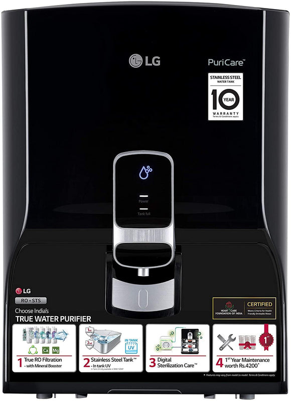 LG Puricare WW140NP RO + Mineral Booster Water Purifier with Dual Protection Stainless Steel Tank, Black