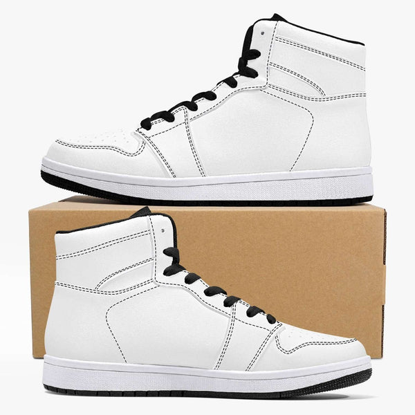 209. High-Top Leather Sneakers - White / Black, Snapfitnessdeals, Trendy Shoes, 209-high-top-leather-sneakers-white-black, fashion, high top, high-top Shoes, high-top Sneakers, Shoes, Sneaker
