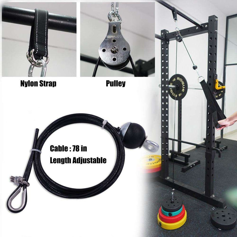 Fitness Pulley Cable System DIY Loading Pin Lifting Triceps Rope Machine Workout Adjustable Length Home Gym Sport Accessories, Snapfitnessdeals, Sports & Entertainment - Fitness & Body Buildi