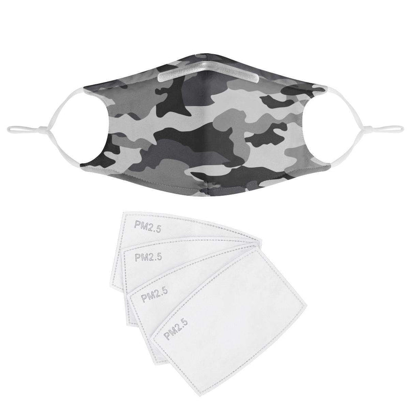 GRAY CAMO -  MASK WITH (4) PM 2.5 CARBON FILTERS, Electric Styles, Accessories, gray-camo-mask-with-4-pm-2-5-carbon-filters, 'EcFreeDesign', Facemask, Mask, spo-default, spo-disabled