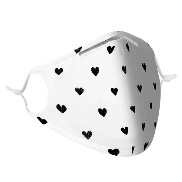 HEARTS - MASK WITH (4) PM 2.5 CARBON FILTERS, Electric Styles, Accessories, hearts-mask-with-4-pm-2-5-carbon-filters, 'EcFreeDesign', Facemask, Mask, spo-default, spo-disabled