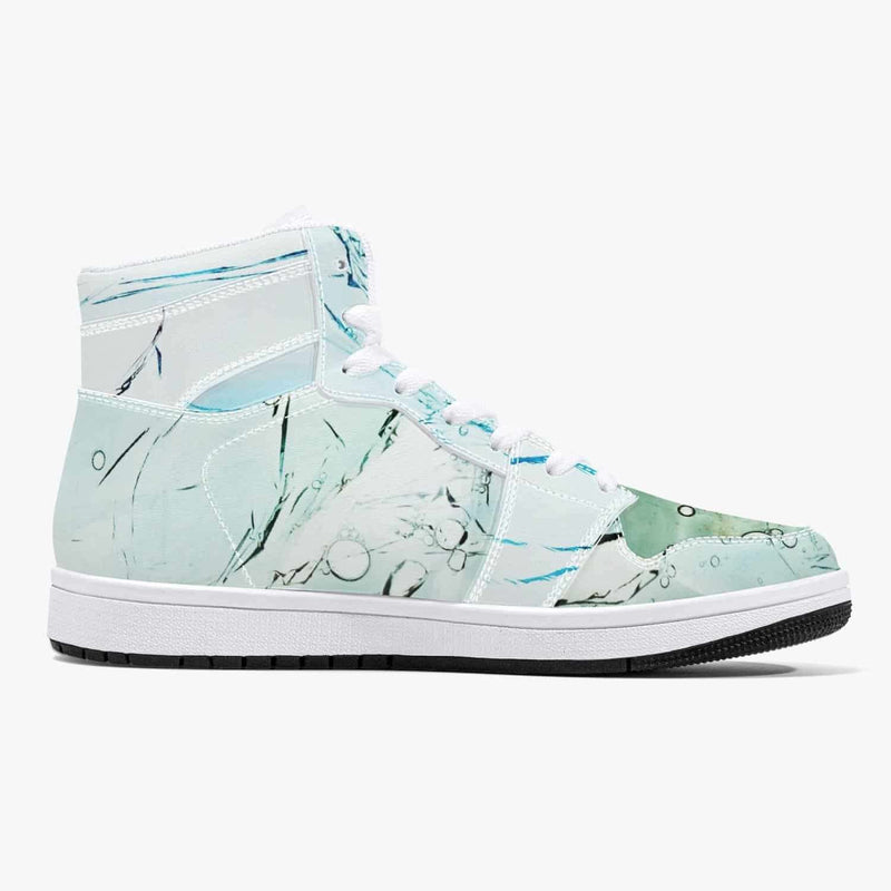 High-Top Leather Sneakers - White / Green/Blue, Snapfitnessdeals, Trendy Shoes, high-top-leather-sneakers-white-green-blue, fashion, high top, high-top Shoes, high-top Sneakers, Shoes, Sneake